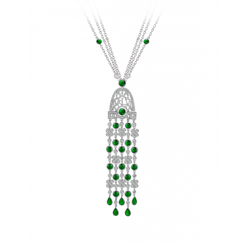 Jezebel Tsavorites and Diamond Pendant