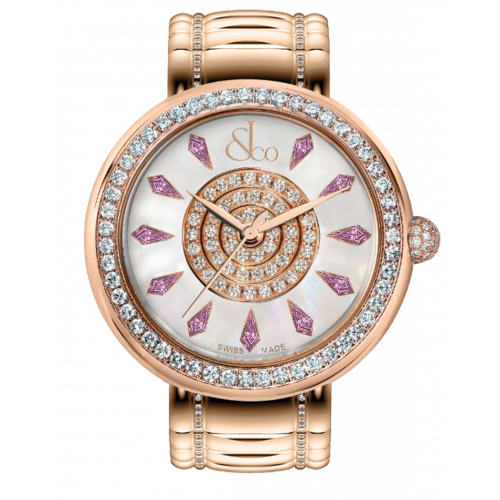 Brilliant One Row Rose Gold Couture Pink Sapphires 44mm