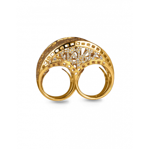 Two Finger Yellow Gold Cocktail Ring