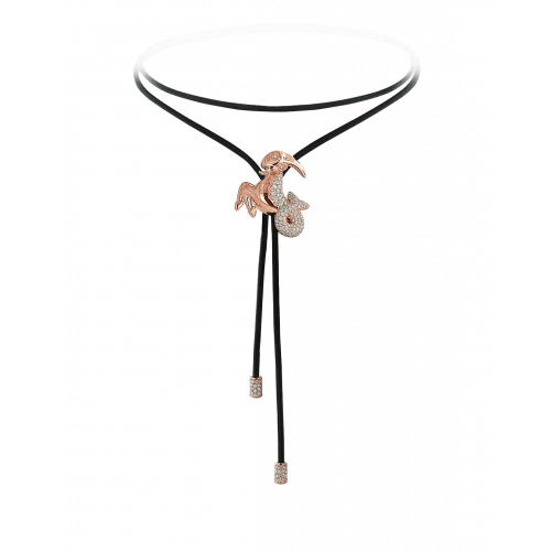 Zodiac Capricorn String Necklace Rose Gold Diamond