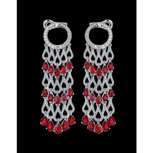 Talia Ruby Diamond Chandelier Earrings