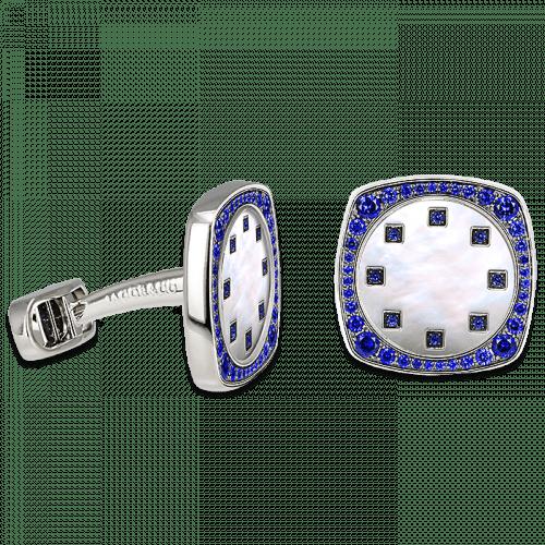 White Gold Square Cufflinks Sapphire