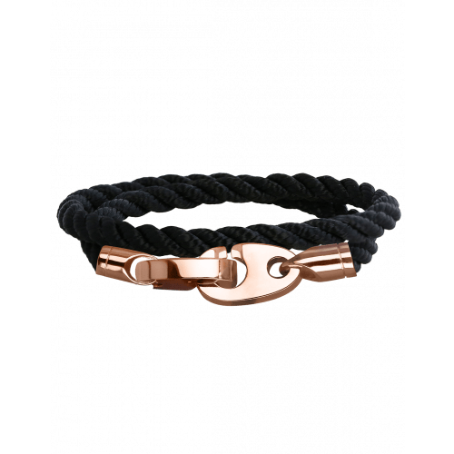 Perfect Fit Bracelet Double Strap Rose Gold Black Rope