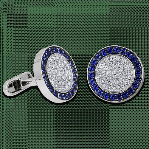 Circular Cufflinks Blue Sapphires