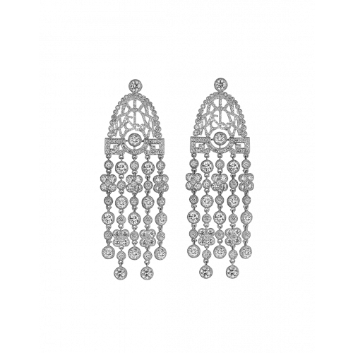 Jezebel White Gold White Diamond Earrings Short