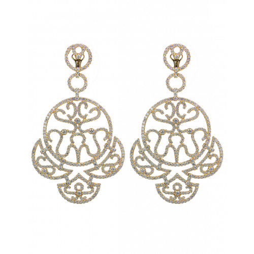 Yellow Gold Diamond Lace Chandelier Earrings