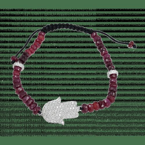 Diamond and Ruby Beads Hamsa Bracelet
