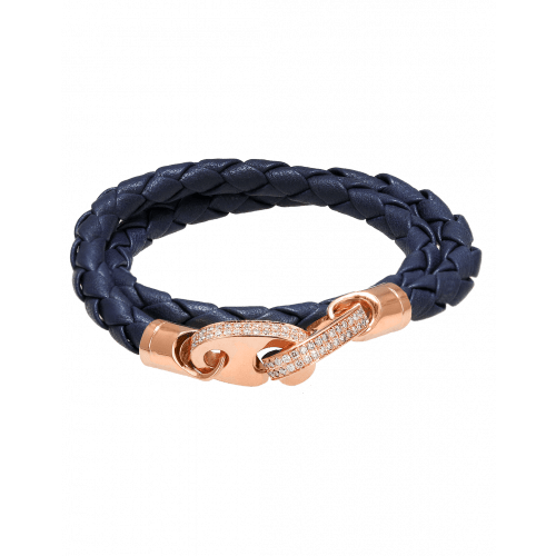 Perfect Fit Bracelet Double Strap Rose Gold with White Diamonds on Navy Leather
