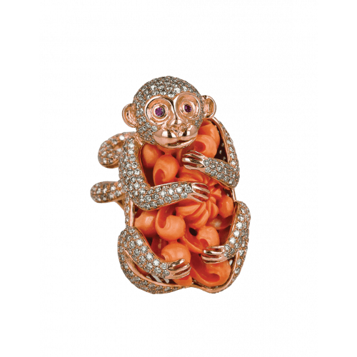 Monkey Coral Ring