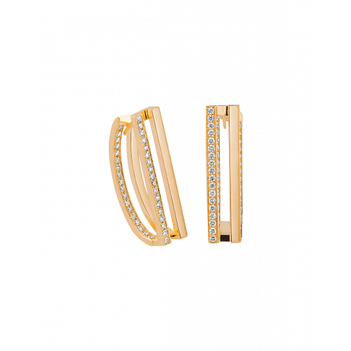 Nima's Classic Earrings Yellow Gold Half Pave