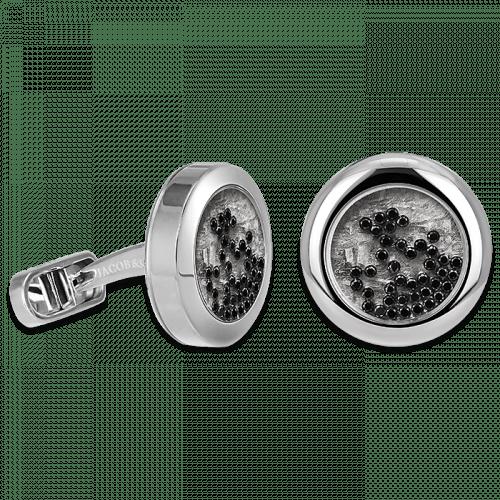 Circular Cufflinks Floating Black Diamonds