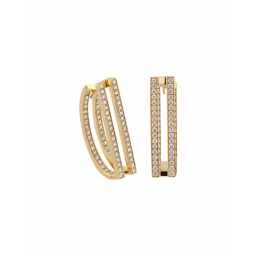Nima's Classic Earrings Yellow Gold Full Pave