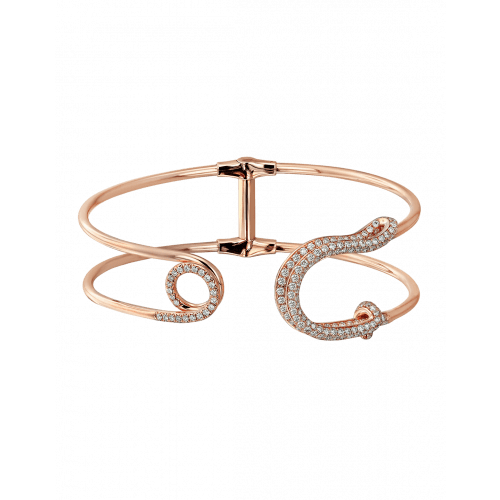 Rose Gold White Diamond Safety Pin Cuff