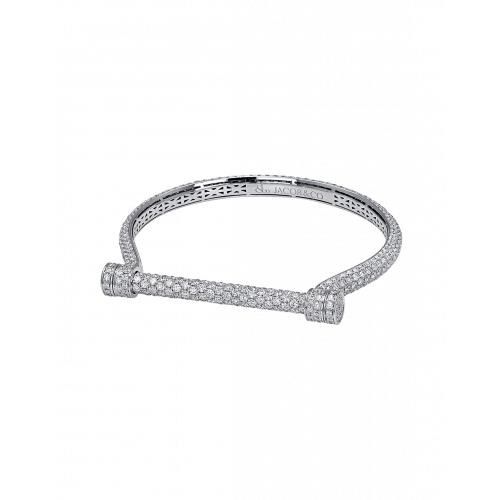 White Gold Estribo Full Pave Bangle