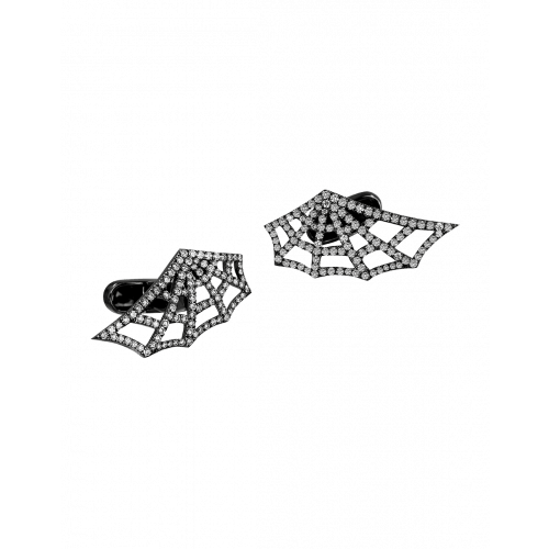 Jacob's Web Black Plated Pave Diamond Cufflinks