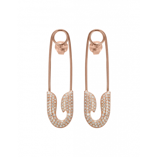 Rose Gold Diamond Safety Pin Earrings