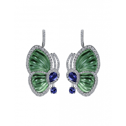 Green Topaz Papillon Earrings