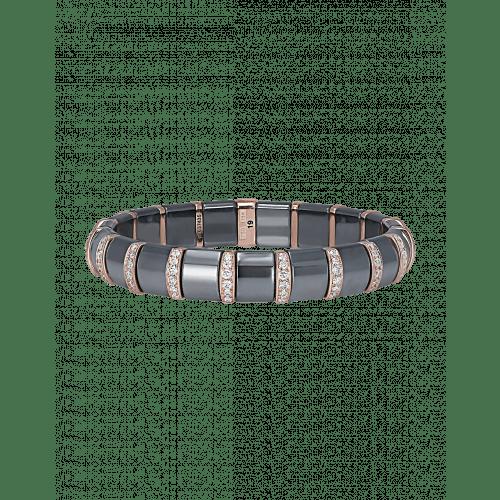 Hematite Bracelet 19 Pave Rose Bars