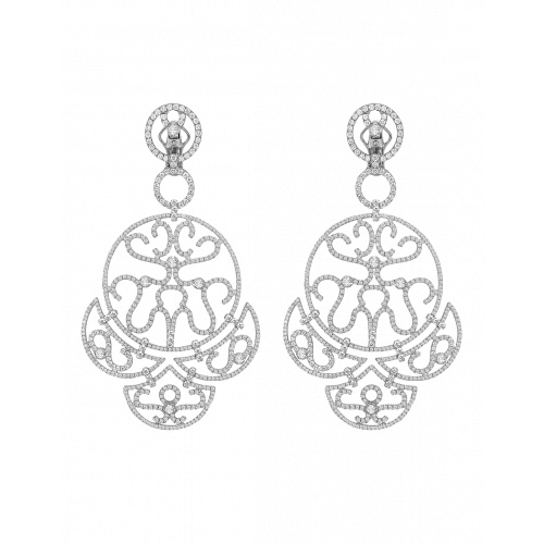 White Gold Diamond Chandelier Lace Earrings