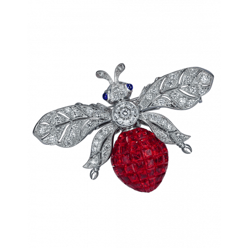 Ruby Bee Brooch