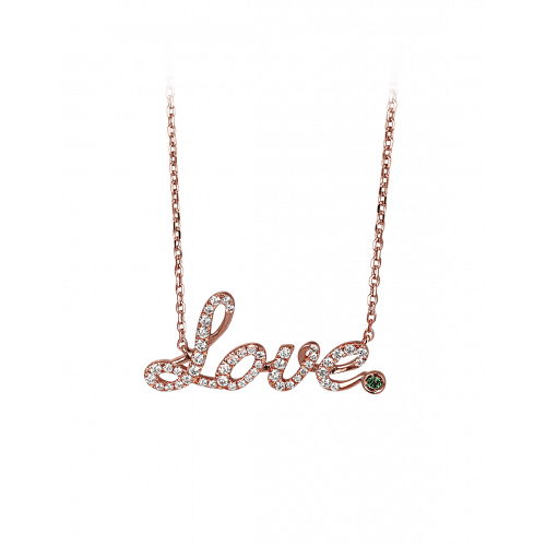 Rose Gold Pave Love Necklace Green Topaz