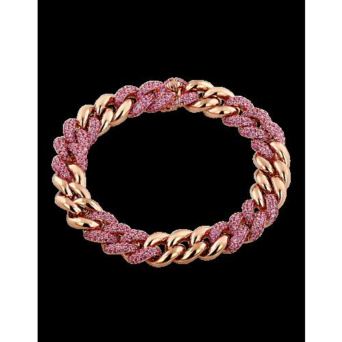 Cuban Link Bracelet Pink Sapphires