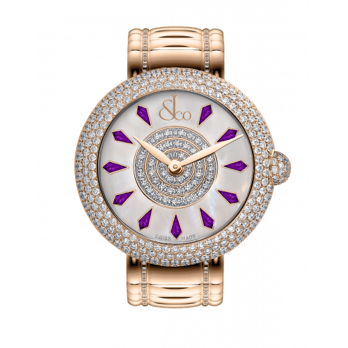 Brilliant Half Pave Rose Gold Couture Amethyst Sapphires 38mm