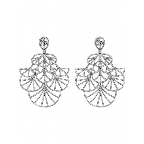 Full Pave Fan Black Plated Earrings
