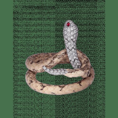 Cerastes White Gold Leather Bracelets