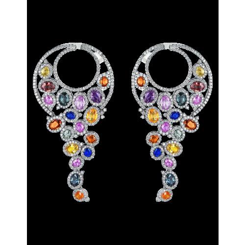 White Gold Multicolor Earrings