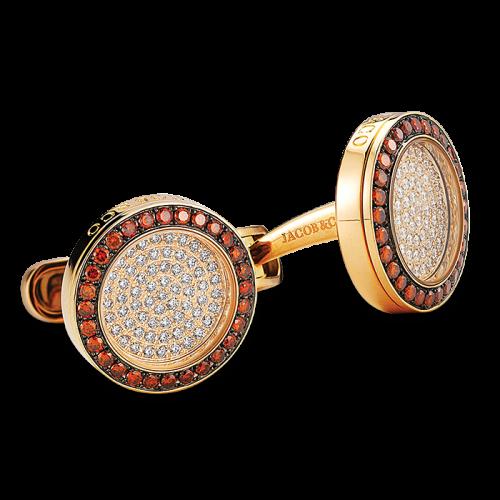 Rose Gold Circular Rotor Cufflinks Cognac Diamonds