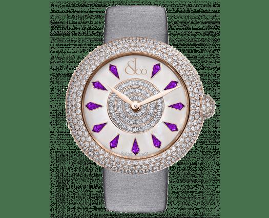Brilliant Half Pave Rose Gold Amethyst Sapphires 44mm