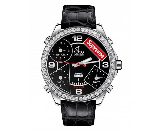 SUPREME FOUR TIME ZONE Black lacquered dial (47mm)
