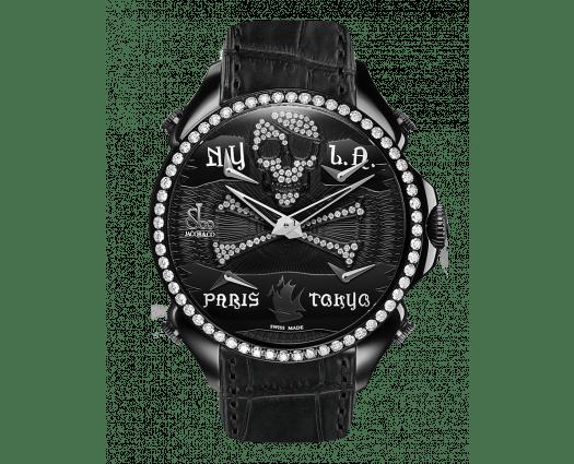 Palatial Five Time Zone Pirate Black PVD White Diamond Set Dial & Bezel