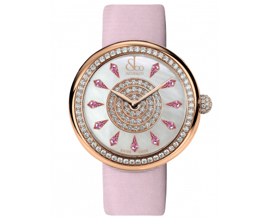 Brilliant One Row Rose Gold Pink Sapphires 44mm