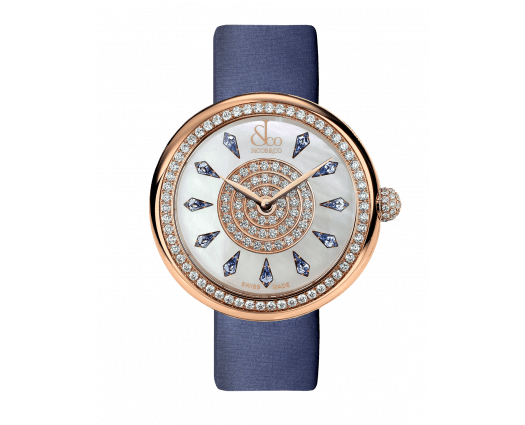 Brilliant One Row Rose Gold Blue Sapphires 38mm