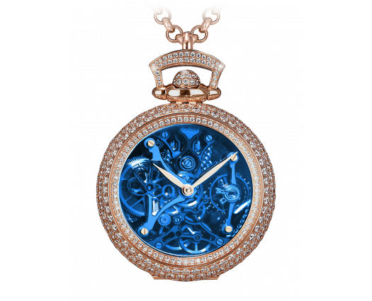 BRILLIANT WATCH PENDANT NORTHERN LIGHTS PAVE BLUE MINERAL CRYSTAL DIAL
