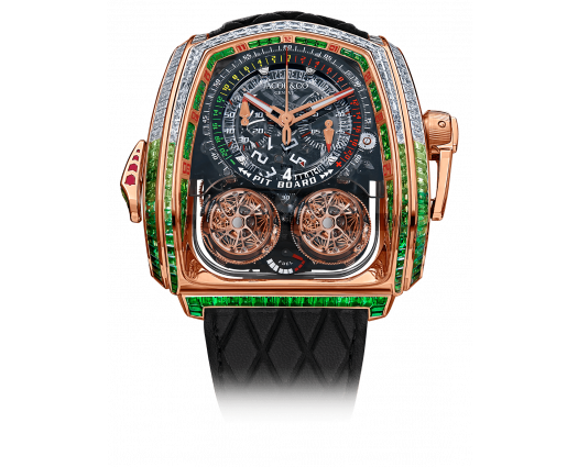Twin Turbo Furious Baguette White Diamonds & Green Sapphires Rose Gold