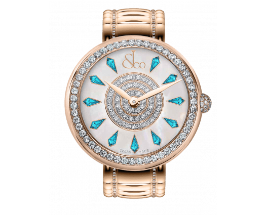 Brilliant One Row Rose Gold Couture Icy Blue Sapphires 44mm