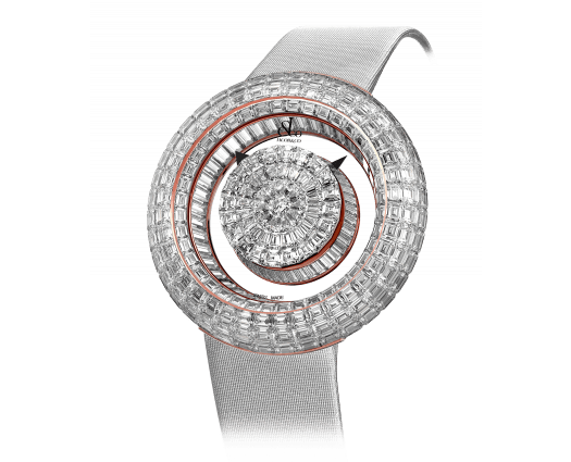 Brilliant Mystery Baguette White Diamonds Rose Gold (44MM)