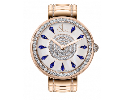 Brilliant One Row Rose Gold Couture Blue Sapphires 44mm