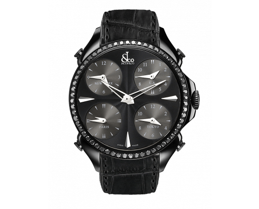 Palatial Five Time Zone Black PVD Coating, Black Diamonds