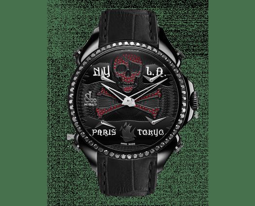 Palatial Five Time Zone Pirate Black PVD Ruby Set Dial & Black Diamond Set Bezel