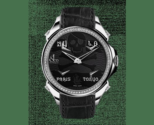 Palatial Five Time Zone Pirate Steel Diamond Set Bezel
