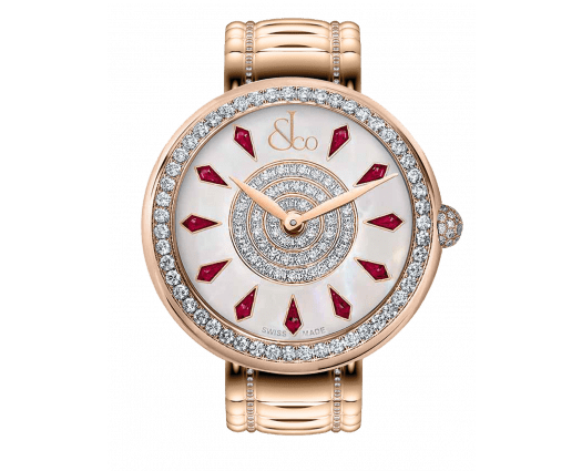 Brilliant One Row Rose Gold Couture Ruby 44mm