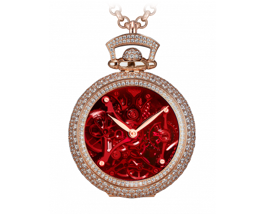 BRILLIANT WATCH PENDANT NORTHERN LIGHTS PAVE RED MINERAL CRYSTAL DIAL
