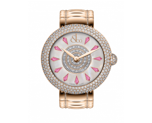 Brilliant Half Pave Rose Gold Couture Pink Sapphires 38mm