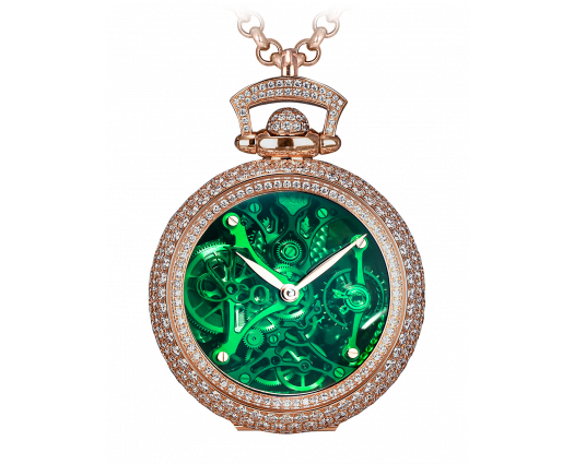 Brilliant Watch Pendant Northern Lights Pave Green Mineral Crystal Dial