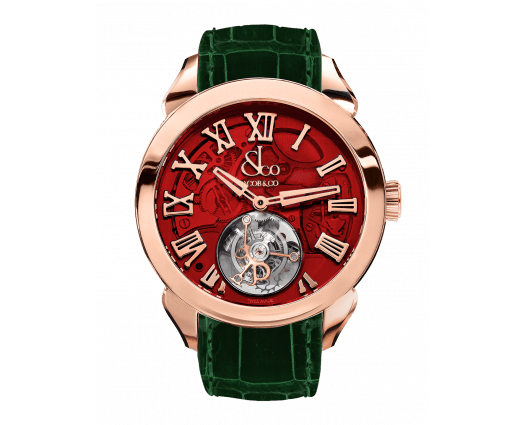 Palatial Flying Tourbillon Hours & Minutes Rose Gold (Red Mineral Crystal)