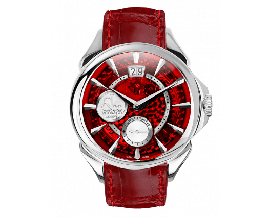 Palatial Classic Manual Big Date Red Mineral Crystal Dial - Steel